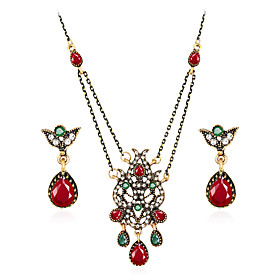 Jewelry Set - Resin, Rhinestone, Gold Plated Luxury, Vintage, Bohemian Include Red / Green For Party Special Occasion / Imitation Diamond