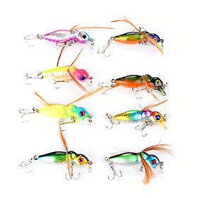 "8 pcs Flies Vibration/VIB Fishing Lures Flies Vibration/VIB Assorted Colors g/Ounce,45 mm/1-3/4"""" inch,Hard Plastic FeatherSea Fishing Fly"" 5578181"