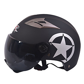 GXT M11 Motorcycle Half Helmet Dual-Lens Harley Sunscreen Helmet Summer Unisex Suitable For 55-61CM with Short Tea Mirror Lens 5603931