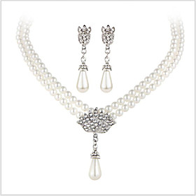 Crystal Jewelry Set - Pearl, Imitation Pearl, Rhinestone Luxury, Bridal Include Silver For Wedding Party Daily / Imitation Diamond