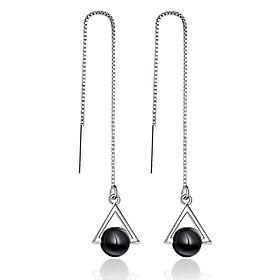 Women's Drop Earrings Sterling Silver Earrings Stylish Jewelry Black For Wedding Party Special Occasion Party / Evening Daily Casual 1 set
