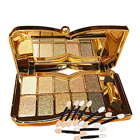 10 Colors Glitter Eye Shadow And 10pcs Eye Shadow Brush  Diamond Bright Makeup Palette Professional Natural Cosmetic 5613354