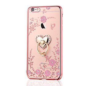 Funda Para Apple iPhone 8 iPhone 8 Plus Diamantes Sintéticos Cromado Soporte para Anillo Funda Trasera Flor Suave TPU para iPhone 8 Plus 5596671
