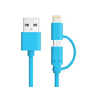 mfi cores 2 em 1 micro usb cabo de carga cabo de dados para o iphone 7 6s plus se 5s ipad 4 mini-telefone inteligente android 4891560