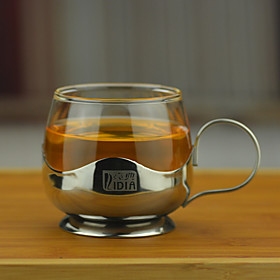Transparent Drinkware, 150 ml Decoration Heat-Insulated Stainless Steel Glass Juice Milk Coffee Mug 5625928