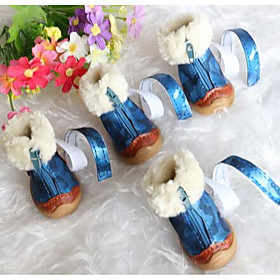 Dog Boots / Shoes Cute Snow Boots Solid Black Blue For Pets 5640734