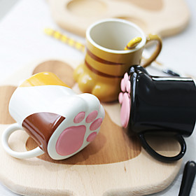 Novelty Drinkware, 270 ml Decoration Cute Ceramic Cat Feet Shaped Coffee Juice Coffee Mug 5598177