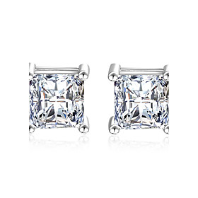 Women's AAA Cubic Zirconia Synthetic Diamond Stud Earrings Drop Earrings - Sterling Silver, Cubic Zirconia Classic, Elegant Silver For Wedding Party Daily / Ca