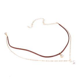 Choker Necklaces Imitation Pearl Rhinestone Pearl Imitation Pearl Rhinestone Fabric Simulated Diamond Alloy JewelryDangling Style 5621358