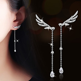 AAA Cubic Zirconia Long Drop Earrings - Zircon, Cubic Zirconia, Gold Plated Wings, Angel Wings Silver / Champagne For Wedding Party Daily