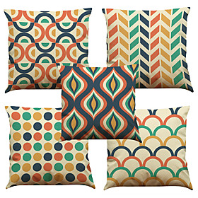 5 Pcs Linen Natural/organic Pillow Case Pillow Cover, Solid Floral Plaid Textured Casual Beach Style Euro Bolster Traditional/classic