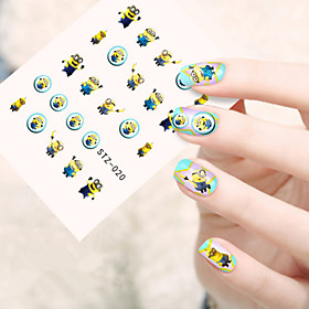 5pcs/set Fashion Lovely Cartoon Nail Art Sticker Cute Cartoon Small Yellow Dolls Design Happy Cartoon Nail Water Transfer Decals STZ-020 5743979