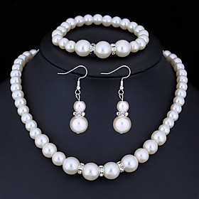 Women's Crystal Jewelry Set Imitation Pearl, Rhinestone Ladies, Basic Include White For Christmas Gifts Wedding Party Special Occasion Anniversary Birthday