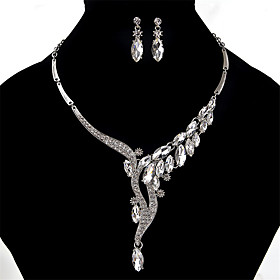 Women's Crystal Jewelry Set Crystal, Rhinestone Ladies, Vintage, Fashion, Euramerican Include Gold / Silver / Gray For Wedding Party Special Occasion / Necklac