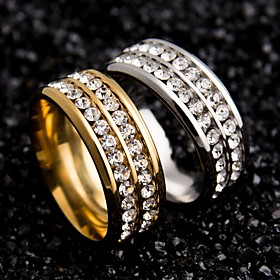 Women's Couple Rings - Stainless Steel, Zircon Unique Design 6 / 7 / 8 / 9 Gold / Black / Silver For Wedding Party Special Occasion