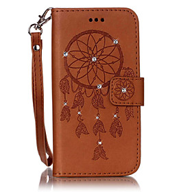 Case For Samsung Galaxy S7 edge / S7 Card Holder / Rhinestone / with Stand Full Body Cases Dream Catcher Hard PU Leather for S7 edge / S7 / S6 edge