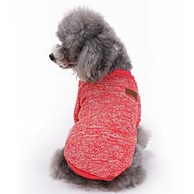 Gatos Perros Abrigos Camiseta Ropa para Perro Invierno Primavera/Otoño Un Color Adorable Moda Deportes Rojo Verde Azul Rosa Azul Claro 5734566