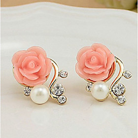 Women's Stud Earrings - Pearl, Imitation Pearl, Rhinestone Roses, Flower Euramerican White / Red For Party Casual