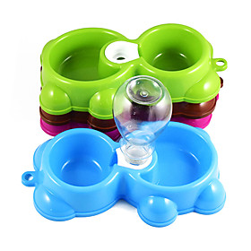 New Fashion plastic dog drinking bowl Little bear double bowl cat food bowl A bowl of dual-use dog bowls free shipping 5659723