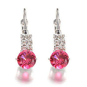 Women's Crystal Geometric Earrings - Crystal Geometric, Fashion Hot Pink / Red / Blue For Wedding Party