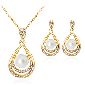 Women's Pearl Jewelry Set - Imitation Pearl, Rhinestone, Gold Plated Drop Classic, Fashion Include Gold For Party Gift Daily