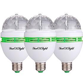 YouOKLight 3PCS E26/E27 3W 250Lm AC85-265V 3High Power LEDs Automatic Rotating Colorful RGB Light  Lamp Bulb for Decoration KTV Party Bar 6020930