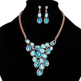 Women's Crystal Jewelry Set Crystal, Opal Ladies, Fashion, Euramerican Include Light Yellow / Blue / Pink For Wedding Party Special Occasion Daily / Necklace