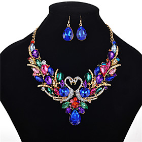 Women's Crystal Jewelry Set Crystal, Rhinestone Swan, Animal Ladies, Luxury, Vintage, Fashion, Victorian, 18th Century Include Necklace Earrings Rainbow For We