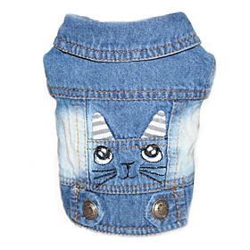 Cachorro Jaquetas Jeans Roupas para Cães Vaqueiro Casual Sólido Preto Azul Rosa claro 5640763
