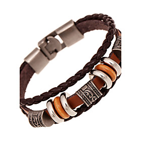 Men's Women's Leather Bracelet Friendship Multi Layer Costume Jewelry Vintage Leather Round Jewelry For Anniversary Gift Valentine 5814923