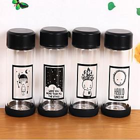 2Pcs Cartoon Drinkware 300 ml Portable Glass Water Water Bottle Random Pattern 5760945