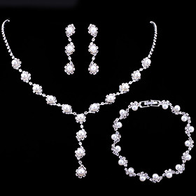 Women's AAA Cubic Zirconia Jewelry Set Ladies, Fashion Include Pearl Necklace White For Wedding Party Engagement Gift Masquerade Engagement Party