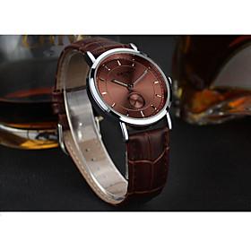 Men's Fashion Watch Quartz Leather Band Brown Brown White 5770999