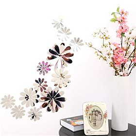 12pcs Vinyl 3d Removable Decorative Silver Mirror Flowers Wall Stickers For Kids Room 3d Art Wall Decals Home Decor