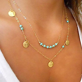 Women's Turquoise Floating Pendant Necklace Gold Plated Turquoise Ladies Personalized Basic Double-layer Silver Golden Necklace Jewelry For Wedding Party Daily