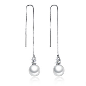 Women's Pearl Drop Earrings - Imitation Pearl, Cubic Zirconia, Platinum Plated Unique Design Silver For Wedding Party Daily