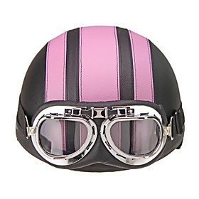 Motorcycle Helmet Open Face Visor Motocross Motor Helmets With Goggles Scarf Adjustable For Hare Retro Outdoor Cycling Pink 5862927