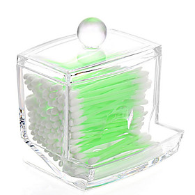 Acrylic Transparent Portable Cotton Pads Cotton Swab Container Box Makeup Cosmetics Storage Drawer Holder Box Cosmetic Organizer with Lid 5985401