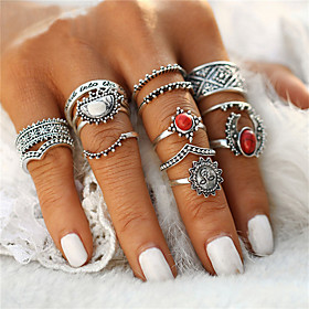 Women's Ring Turquoise Flower Ladies Geometric Unique Design Vintage Bohemian Punk Ring Jewelry Silver For Christmas Gifts Wedding Party Special Occasion Hallo
