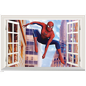 3D Cartoon Window Wall Stickers Movie Film Character/ Figure Spiderman PVC Wall Decals Home Decoration For Kids Room 5784117