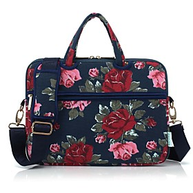 Image of 13.3 14.1 15.6 inch Peony Pattern Laptop Shoulder Bag with Strap Hand Bag for Macbook/Surface/Dell/HP/Samsung/Sony etc