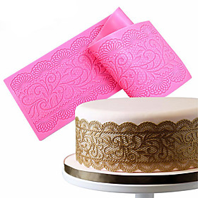 1Pcs  Flower Silicone Lace Impression Mold Cake Decor Bake Emboss Mat Mould Craft Random Color 5765265