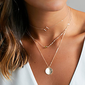 Women's Floating Choker Necklace Pendant Layered Necklace Ladies Basic Gold Silver Necklace Jewelry For Wedding Party Anniversary Birthday Graduation Gift