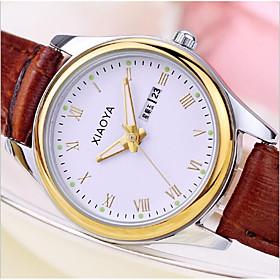 Men's Fashion Watch Quartz Leather Band Brown Silver White 5777114
