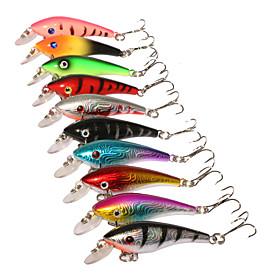 "10 pcs Hard Bait Minnow Fishing Lures Minnow Hard Bait Assorted Colors g/Ounce,57 mm/2-1/4"""" inch,Hard PlasticSea Fishing Bait Casting"" 5855263"