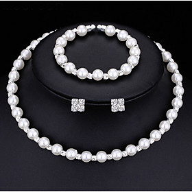 Women's Pearl AAA Cubic Zirconia Jewelry Set Imitation Pearl Ladies, Fashion Include Stud Earrings Bracelet Pearl Necklace White For Wedding Party Engagement G