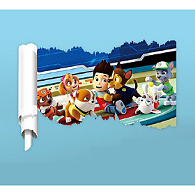3D Reel Cartoon Dog Wall Stickers PVC Anime Movie Film Doggy Wall Decals Home Decoration Police Character Sticker for Kids Room 5784134