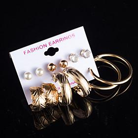 Women's AAA Cubic Zirconia Stud Earrings Drop Earrings Hoop Earrings Pearl Cubic Zirconia Earrings Leaf Flower Jewelry Gold / Silver For Wedding Party Daily Ca