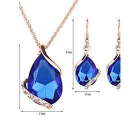 Women's Sapphire Crystal Jewelry Set Rose Gold, Crystal, Rhinestone Drop Ladies, Fashion Include Drop Earrings Pendant Necklace Necklace / Earrings Red / Green