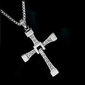 Men's Synthetic Diamond Pendant Necklace - Zircon, Imitation Diamond Cross Luxury, Fashion Silver Necklace Jewelry For Wedding, Party, Daily